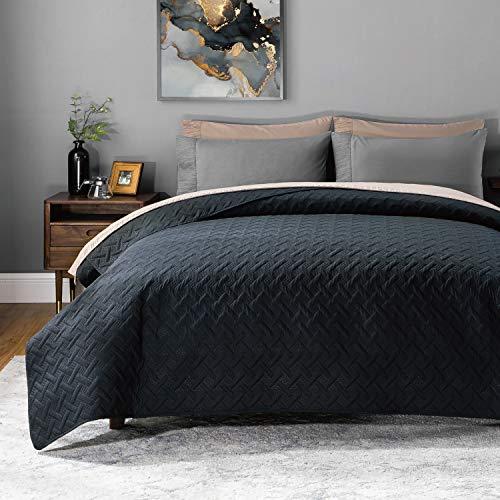 BEDSURE Tagesdecke 220 240 schwarz Schlafzimmer- Bettüberwurf 220x240 cm für Bett, Wohndecke aus Mikrofaser mit Ultraschall genäht, als Steppdecke Sommer Komfort und Weich