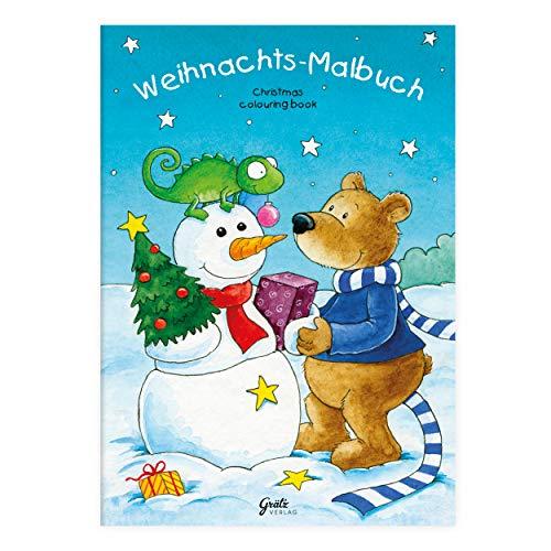 Kinder lieben Ausmalen! - Malbuch Weihnachten mit verschiedenen Winter- und Weihnachtsmotiven wie Schneemann, Schlitten, Weihnachtsbaum, Geschenke, Teddybar usw, für Jungen und Mädchen ab 3 Jahren