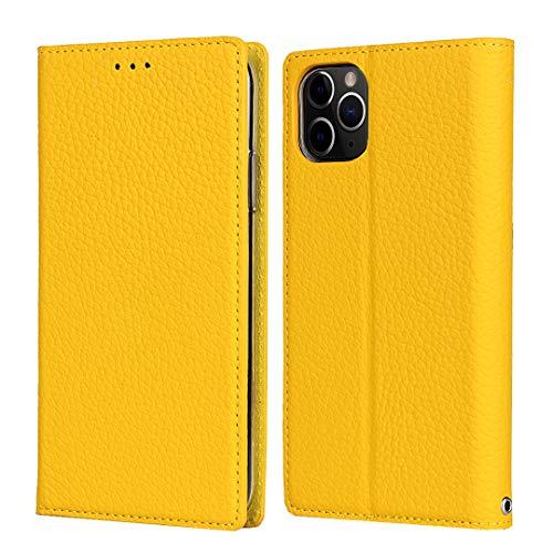 SailorTech Funda para iPhone 11 Pro Max, Lujo Litchi Grano Cuero Genuino Folio Flip Funda de Teléfono con Ranuras para Tarjetas Fuerte Cierre Magnético Soporte de Kickstand Amarillo