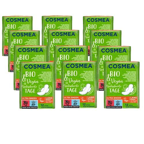 Cosmea Bio Ultra-Binden, Super mit Flügel ohne Duft, Vorteilspack (12 x 12 Stück). Hygiene-Einlagen aus Bio-Baumwolle. Damen-Hygiene im Einklang mit der Natur