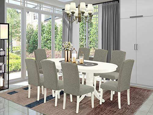 East West Furniture 9Pc Dinette Set Includes a 59/76.4 Inch Oval Dining Table with Butterfly Leaf and 8 Parson Chair White Leg and Linen Fabric Dark Shitake