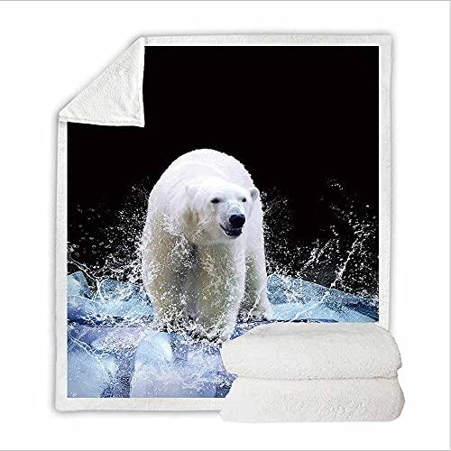 Negro Manta Microfibra Oso Polar Glacial Extra Suave Acogedora y Cálida Manta 3D Suave y Cálida Manta de Respirable para Sofá Cama y Sofá 130 X 150 CM