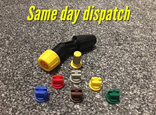 CHEAPEST ON AMAZON Paquete de 6 boquillas Planas para Ventilador (Juego de 6) Inc's acodada para Lanza de Mochila de 10 mm