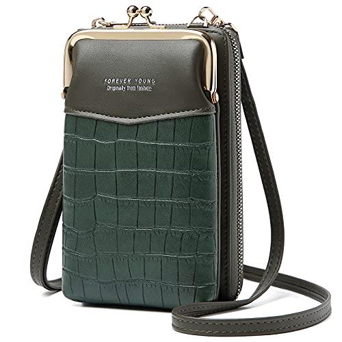 Handy Umhängetasche Damen, Leder Handytasche zum Umhängen Schultertasche Klein Portemonnaie Brieftasche mit Kartenfächer Verstellbar Abnehmbar Schultergurt für iPhone 12/ Huawei P30 Lite