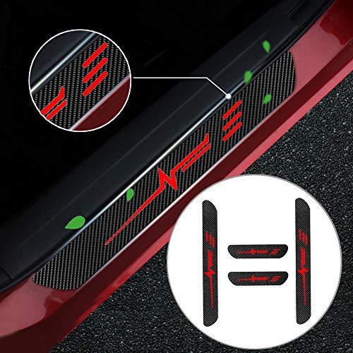 Battitacco Auto Esterno Batticalcagno per A1 A3 A4 A5 A6 A7 A8 Q2 Q3 Q5 Q7 TT R8 Adesivi delle Soglie delle Porte in Fibra di Carbonio Rosso 4 Pezzi