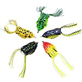 WSHAREG Topwater Frogs Baits, Soft Plastic Fishing Lures for Bass Walleye Kit, Crankbaits Tackle Set for Freshwater and Saltwater, Weedless Swimbaits with Hard Hooks (Pack of 5 with Multi-Colors)