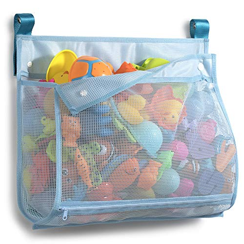 Tenrai Mesh Bath Toy Organizer, ( 1 Large, Blue) Bathtub Storage Bag, Multi-purpose Baby Toys Net, Toddler Shower Caddy for Bathroom, Quick Drying Kids Toy Holder, YY