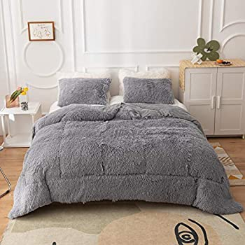 Smoofy Faux Fur Comforter Set Plush Comforter Set 3 Piece Comforter Set Queen Size Ultra-Soft Velvet and Long Plush Shaggy Comforter 1 Comforter Filler 2 Pillowcases Grey