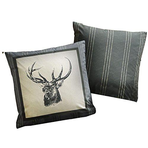 Dreams & Drapes Connolly Check Charcoal 43cm x 43cm Filled Cushion, 100% Cotton, 43 x 43cm Square