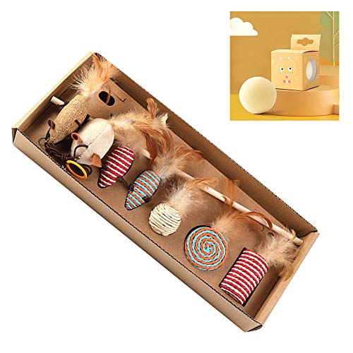 Croselyu Funny Cat Rod 7-teiliges Set, Funny Cat Rod Interactive Training, Hanfseil, Funny Cat Rod, Fun Feather Cat Toy Gift Box, Natural Solid Wood Linen Material, 1 Set (Gelb)