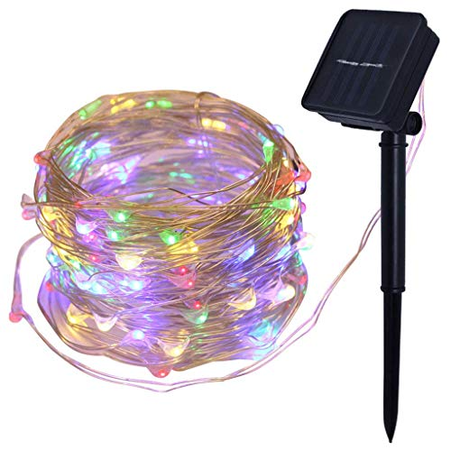 GYC Solar String Light 100LED, 10M Waterproof Christmas Fairy Lights, Indoor/Outdoor Holiday Star Decoration Lamp Colorful