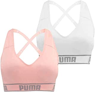PUMA Women's Seamless Sports Bra Removable Cups - Adjustable Straps Moisture Wicking (2 Pack) (White-Pink, M)