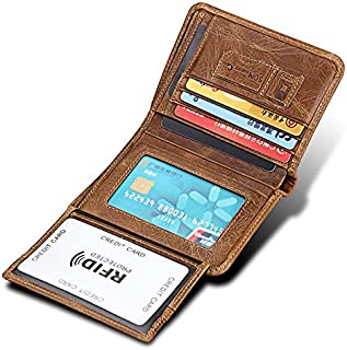 Men's Wallet Anti-Theft Brush Anti-RFID Crazy Horse Leather Suede Leather Wallet Leather Bag (Color : Brown, Size : S)
