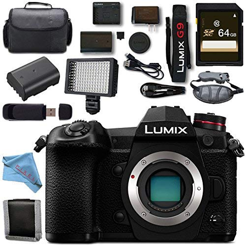 Panasonic Lumix DC- G9 DC-G9KBODY Mirrorless Micro Four Thirds Digital Camera + 64GB SDXC Card Memory Bundle