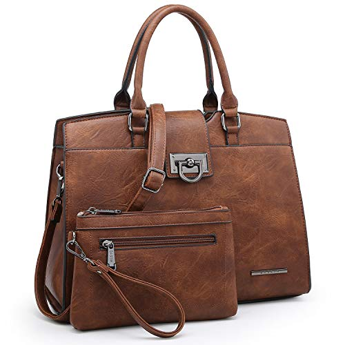 Dasein Women Satchel Purses Handbags Monogrammed Shoulder Bags for Lady Work Tote Bags with Matching Clutch (Solid coffee)