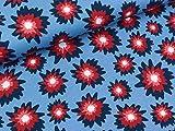 Swafing Baumwolljersey Amsterdam Blumen bunt auf Rauchblau