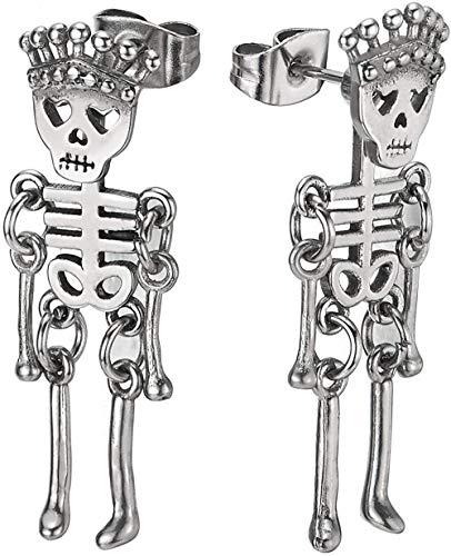 NC188 Pendientes de botón de Hueso de Esqueleto de Calavera con Corona de Acero Inoxidable para Hombre y Mujer 2 Piezas (CA)