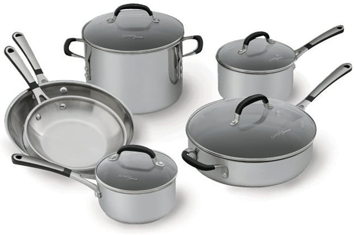 Simply Calphalon 1757697 Stainless Steel 10 Piece Cookware Set Silver