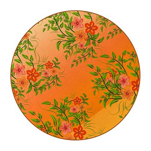 6 posavasos duraderos con diseño de moda y base de piel de microfibra para tazas de cristal, taza de café, fondo naranja, rojo, floral y hojas verdes