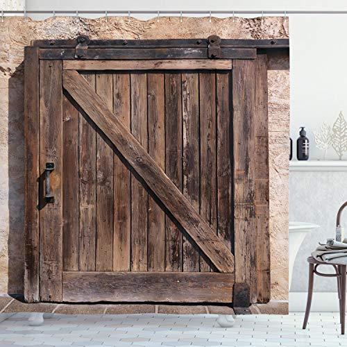 ABAKUHAUS Rústico Cortina de Baño, Vintage Puerta corredera, Material Resistente al Agua Durable Estampa Digital, 175 x 200 cm, marrón Beige