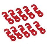 10pcs Tensores Aleación Aluminio Corredor de Cuerda para Tienda de Campaña Rojo