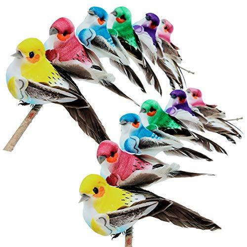 lwingflyer 12pcs Artificial Simulation Foam Birds with Claw Feather Mini Love Birds for Craft Home Ornaments Garden Wedding Decoration Embellishing 9cm/3.54inch
