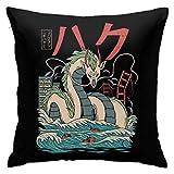 KEDFGUI Fundas de Almohada Fundas de cojín Sofá Decoración para el hogar Cuadrado Decorativo 18x18 Pulgadas Spirited Away Haku Dragon Kaiju