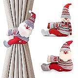Jsdoin 2 alzapaños de cortina de Navidad, 2 unidades, clips de cortina de Papá Noel, muñeco de nieve, decoración de ventanas (1 par)