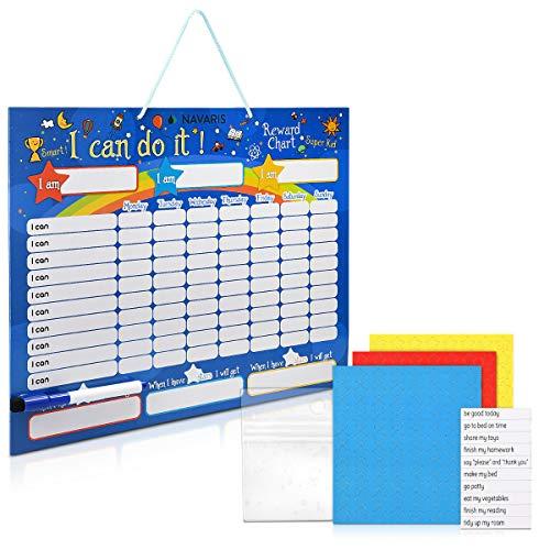 Navaris Tabla de recompensa para niños - Pizarra para recompensar Buen Comportamiento tareas Hechas y Aprender inglés - Magnética con 250 imanes