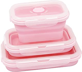 Food Storage Containers, HONOVI Silicon Lunch Box Collapsible Storage with Food Grade Silicon Snap Click Closure and Vent Valve 3-Pack Collapsible Silicone Bowl for Kids FDA Approved, Pink