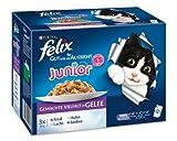 Felix So gut wie es aussieht Junior 12er-Multpacks (Rind, Huhn, Lachs, Sardine) 12x100g, Katzenfutter von Purina, 3er Pack (3 x 1.2 kg)