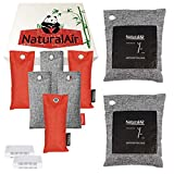 NaturalAir Activated Charcoal Bags (10 Pack) - Bamboo Charcoal Air Purifying Bag, Charcoal Bags Odor Absorber for Home, Car, Office, Smoke, Closet, Basement, Shoes Deodorizer, Pet Odor Eliminator (2x200g, 6x75g and 2 Pack Refrigerator Odor Remover)