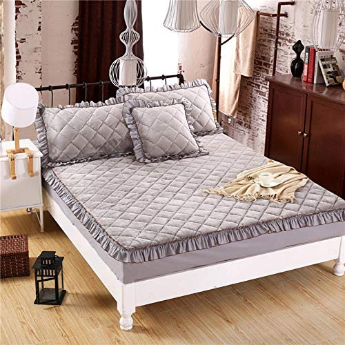 N / A Deep Fitted Bed Sheet King,Solid color flannel quilted bed sheet thick warmth non-slip mattress cover single double cover-silver_gray_180x220cm+28cm