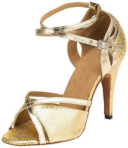 HIPPOSEUS Zapatos de Baile Latino para el salón de Baile con Purpurina y Salsa para Mujer Zapatos de Baile,CY-L035,Oro Color,EU 40