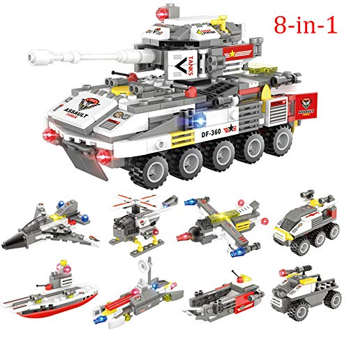 SKLLA 491 uds Tanque Building Blocks Compatible City Alquiler Barco helicóptero 8 en 1 para la Educación Ladrillos Juguetes para los niños