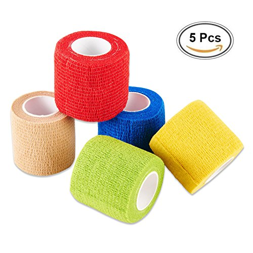 Selighting 5 Stk Selbsthaftend Bandagen Klebeverband Selbstklebend Bandagen für Finger Handgelenk und Knöchel (5cm x 4,5m)