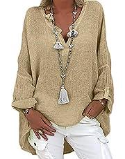 Trui met lange mouwen voor dames, casual, solide, losse V-hals, hemd, katoen, linnen, blouse, top