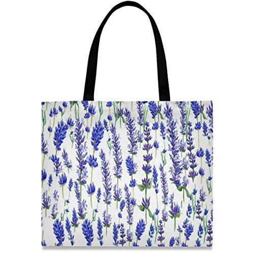 visesunny Women's Large Canvas Tote Shoulder Bag Purple Lavender Flower Top Storage Handle Shopping Bag Casual Reusable Tote Bag for Beach,Travel,Groceries,Books