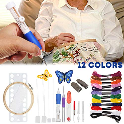 Gebuter DIY Sewing Tools Kit Magic Embroidery Pen Punch Needle Set with 12 Color Threads
