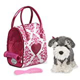 Pucci Pups by Battat - Pink & White Plush Bag and Schnauzer - Dog Plush with Carrying Bag (3 Piece)