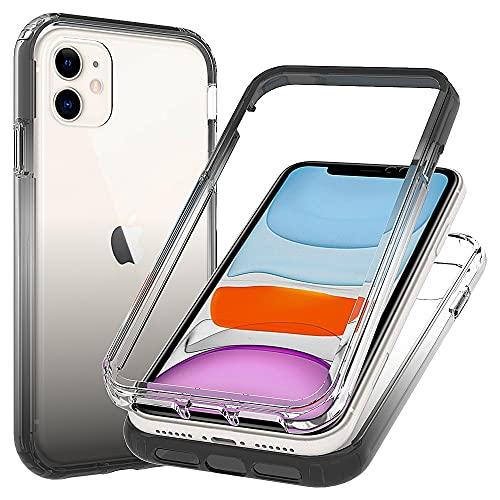Blllue Funda para iPhone 11, Slim Fit transparente a prueba de caídas con policarbonato duro fino y marco flexible de TPU para iPhone 11, color negro