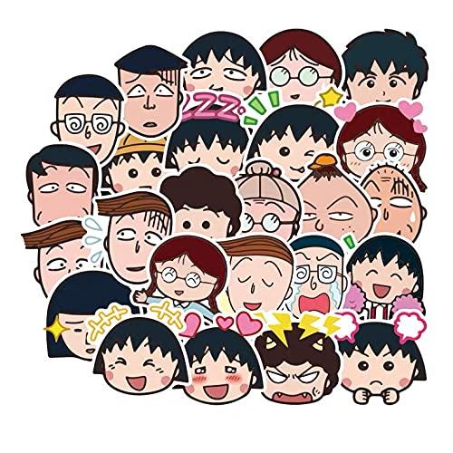 BUCUO Cherry Maruko Sticker Personality Cartoon Cute Travel Trolley Custodia Sticker Chitarra Skateboard Sticker 50 Pz
