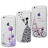3x Funda iPhone 6, 6s Carcasa Silicona Gel Case Ultra Delgado TPU Goma Flexible Cover para iPhone 6/6s - Chica + Bici + Diente De León
