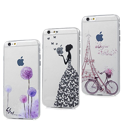3x Funda iPhone 6, 6s Carcasa Silicona Gel Case Ultra Delgado TPU Goma Flexible Cover para iPhone 6/6s - Chica + Bici + Diente De León