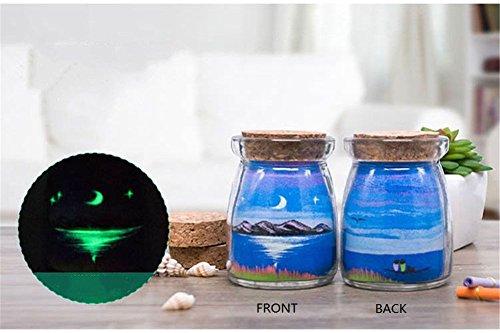 PROW® Bleu sable Le sable Art bouteille en verre à la main minuscule étoile et lune paysage souhait bouteilles avec bouchons en liège Boîte de fantaisie pour la décoration cadeau d'anniversaire