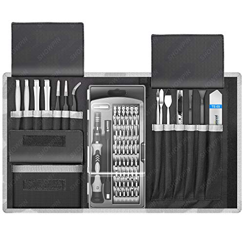 80 in 1 Laptop Repair Tool Kit, SHOWPIN Precision Computer Screwdriver Set, with 56 Bit, Anti-Static Wrist and Electronic 24 Repair Tools, for MacBook, PC, Tablet, PS4, Xbox Controller Repair