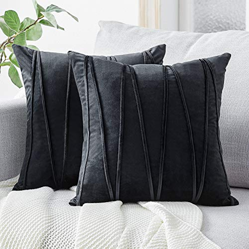 Top Finel Decorative Hand-Made Throw Pillow Covers Soft Particles Velvet Solid Cushion Covers 20 X 20 for Couch Bedroom Car, Pack of 2, Black