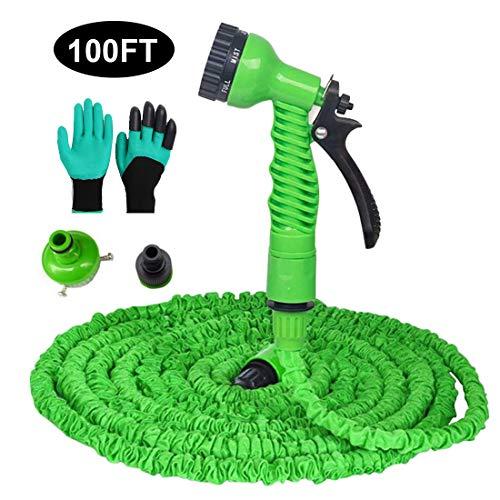 PECHTY Flexible Manguera de Jardín Manguera de Riego con 8 Funciones Pistola Pulverizadora para Limpiar Autos, Jardinería, Riego
