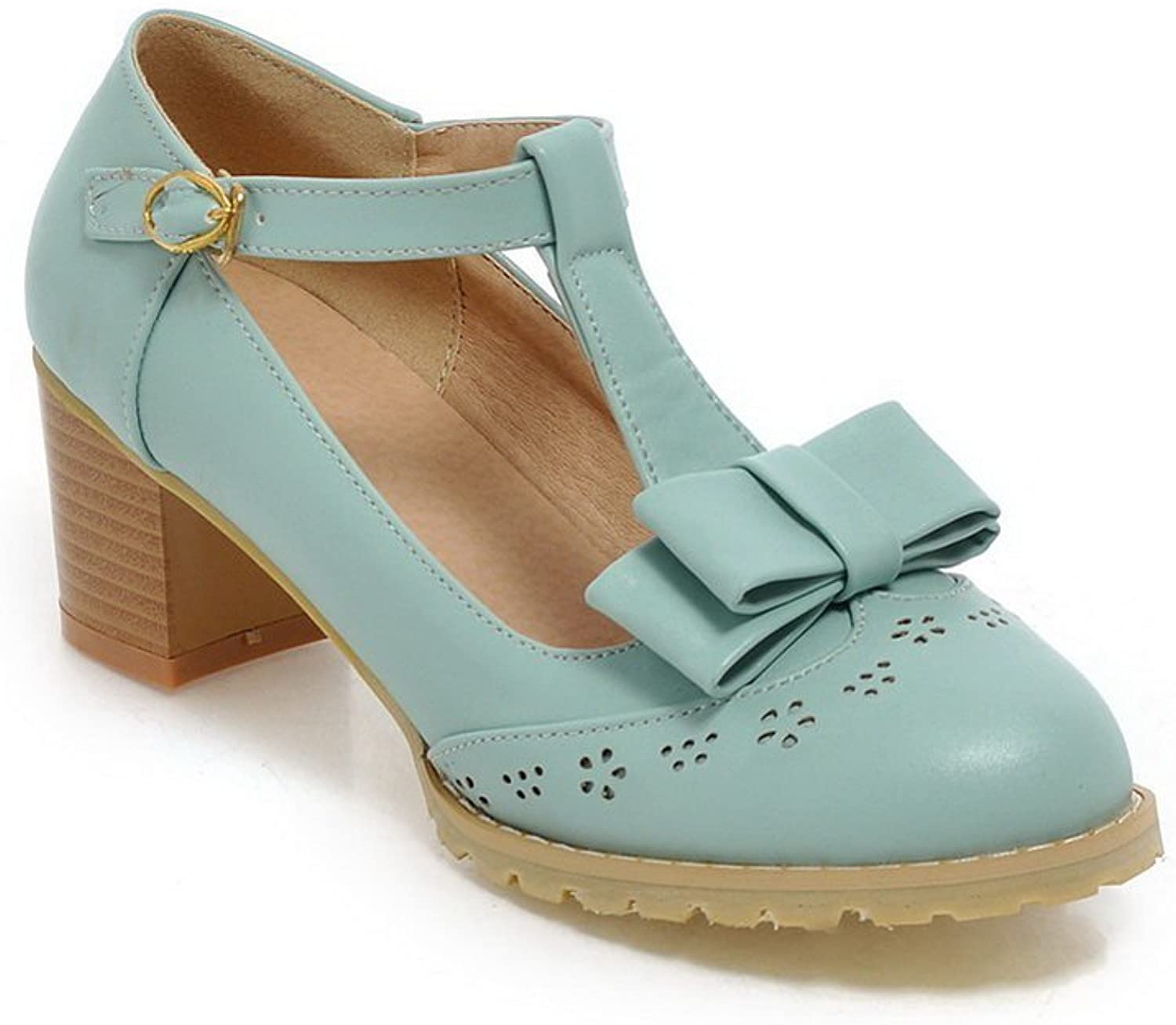 1TO9 Girls Buckle Hollow Out Round-Toe Engagement bluee Polyurethane Pumps-shoes - 7.5 B(M) US