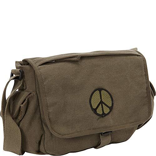 Fox Outdoor Products Retro Messenger Bag, Peace Emblem Olive Drab